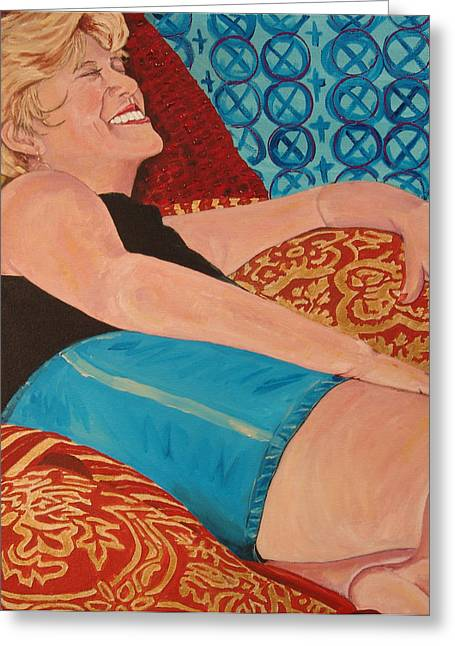 Odalisque In Blue Shorts Greeting Card
