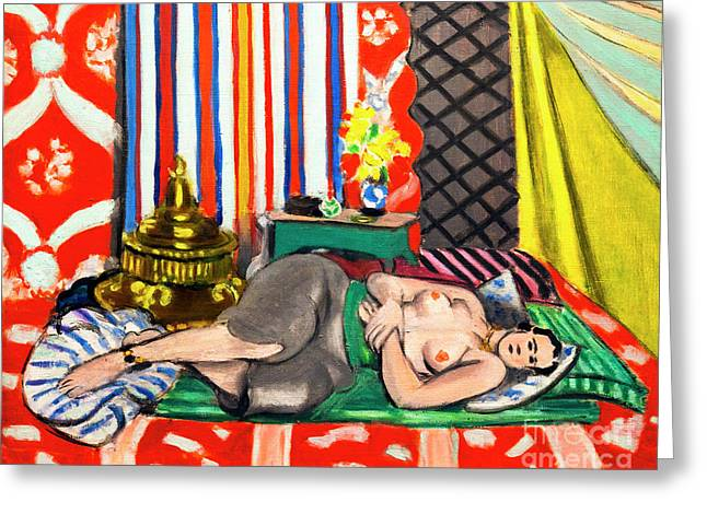 Odalisque With Grey Culottes, Odalisque A La Culotte Grise, By H Greeting Card by Peter Barritt