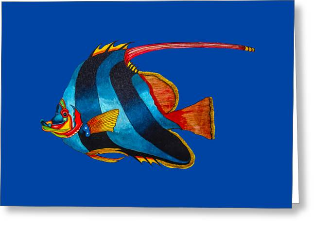 Aquatic Greeting Cards - Odd blue fish painting Greeting Card by The one eyed Raven