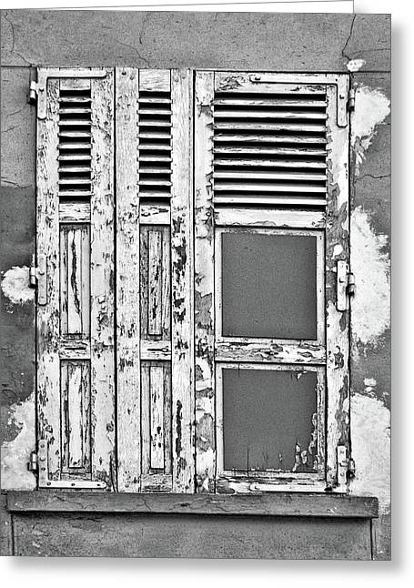 Greeting Card featuring the photograph Odd Pair - Shutters by Nikolyn McDonald