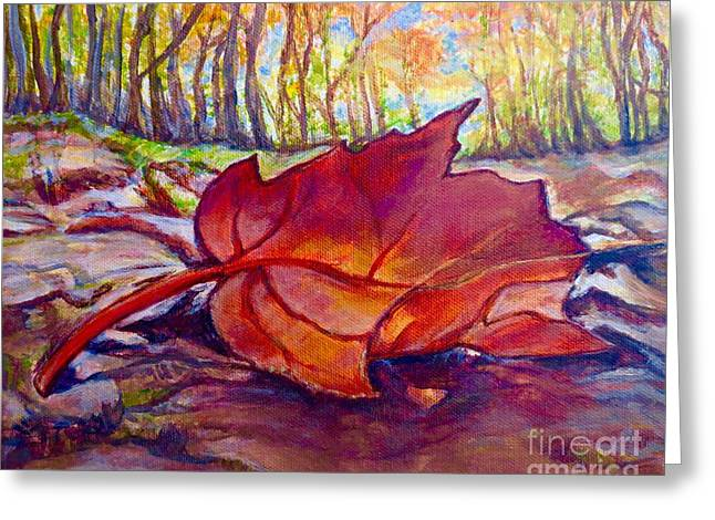 Ode To A Fallen Leaf Painting Greeting Card by Kimberlee Baxter