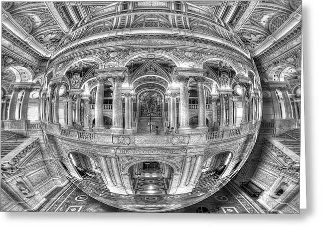 Ode To Mc Escher Library Of Congress Orb Horrizontal Greeting Card by Tony Rubino