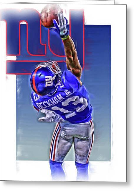 Odell Beckham Jr New York Giants Oil Art 2 Greeting Card