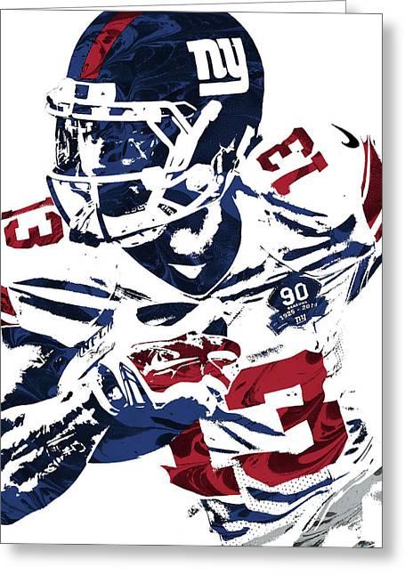 Odell Beckham Jr New York Giants Pixel Art Greeting Card by Joe Hamilton
