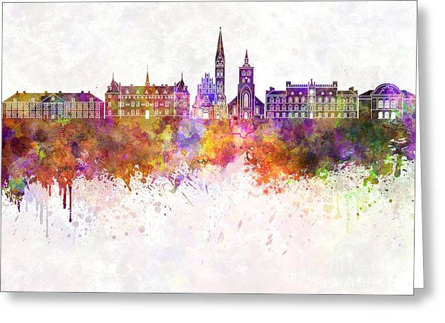 Odense Skyline In Watercolor Background Greeting Card by Pablo Romero