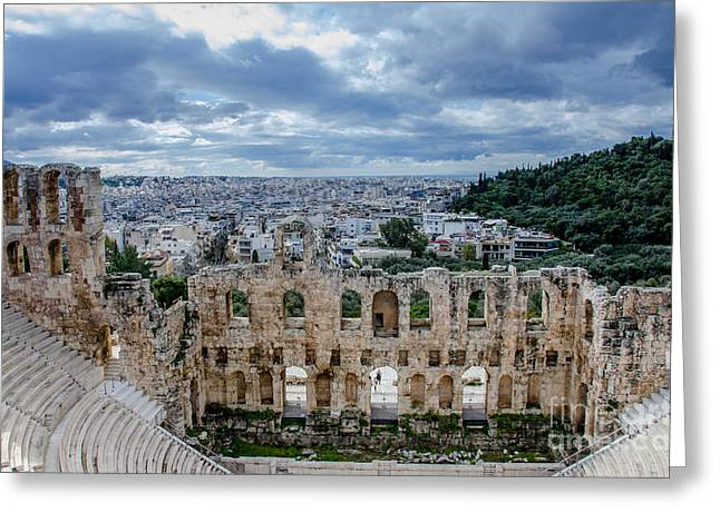 Odeon Of Herodes Atticus - Athens Greece Greeting Card by Debra Martz