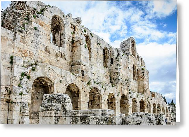 Odeon Stone Wall - Athens Greece Greeting Card by Debra Martz
