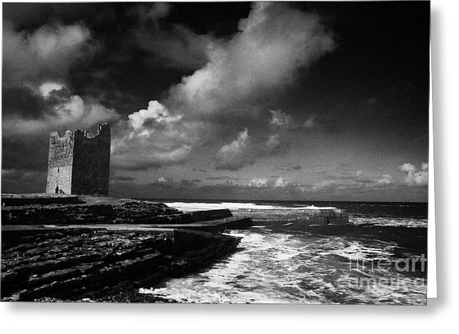 O'dowds Rosslea Castle And Easkey Pier Easkey County Sligo Republic Of Ireland Greeting Card