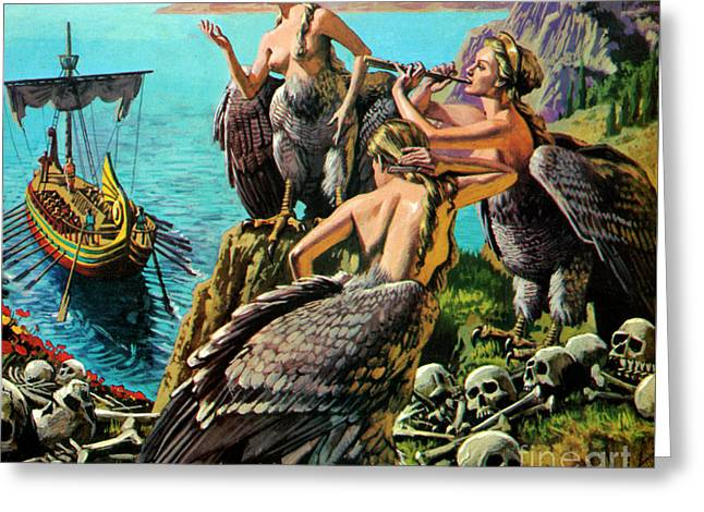 Odysseus And The Sirens Greeting Card