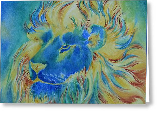 Of Another Color Blue Lion Greeting Card by Summer Celeste