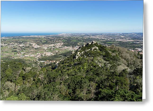 Of Castles And Vistas - An Aerial View Of Moors Castle At Sintra Portugal Greeting Card