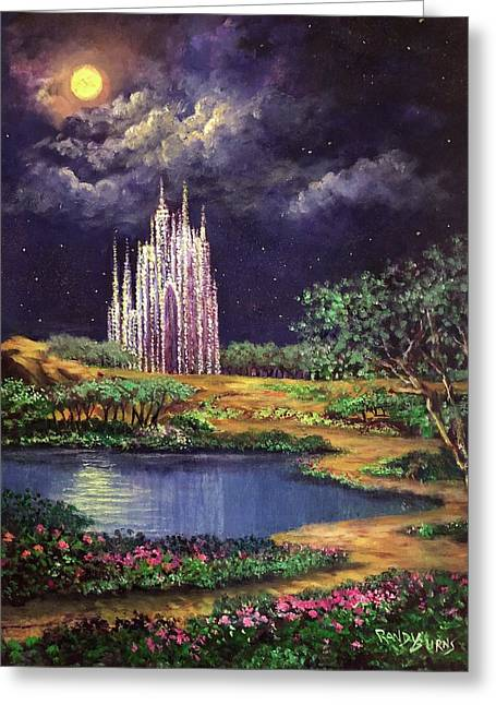 Of Glass Castles And Moonlight Greeting Card