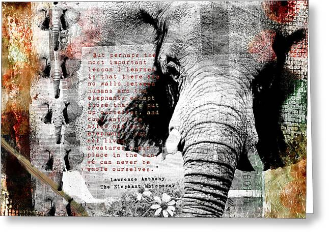 Greeting Card featuring the digital art Of Elephants And Men by Nola Lee Kelsey