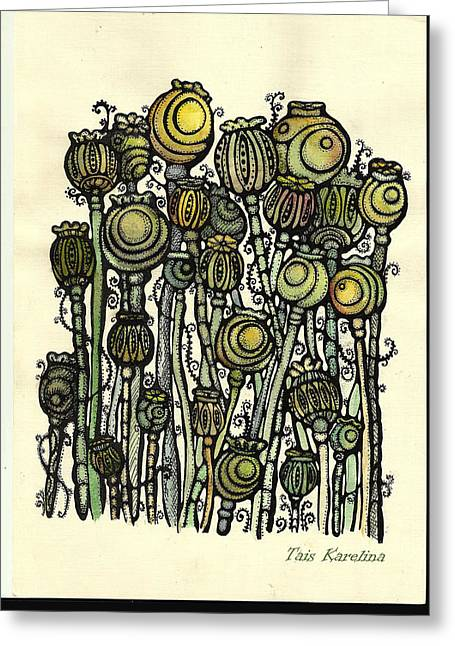 of Ripe poppies Greeting Card