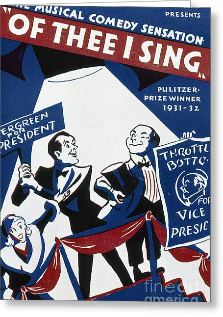 Of Thee I Sing, 1932 Greeting Card by Granger