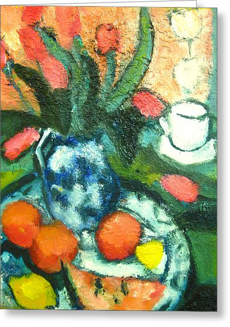 Of Tulips And Oranges A La Cezanne Greeting Card by Studio Tolere