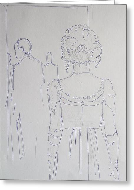 Off To Dinner - Line Illustration Of A Young Woman In A Twenties Period Dress Greeting Card