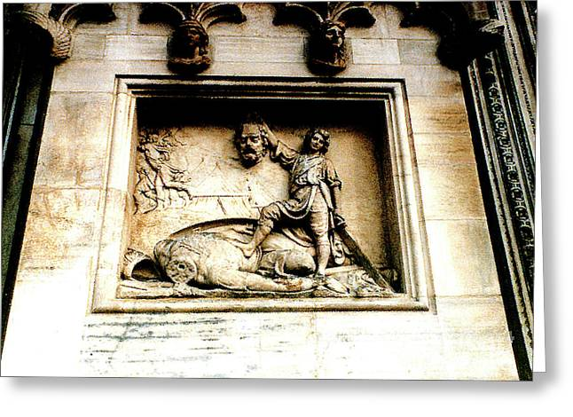 Greeting Card featuring the photograph Off With His Head - Sculpture On The Cathedral In Milan,italy by Merton Allen