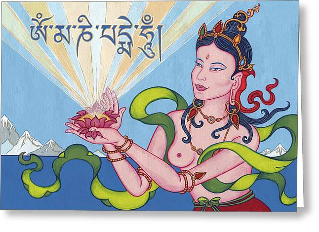 Bodhisatva Greeting Cards - Offering Goddess with mantra Om Mani Padme Hum Greeting Card by Carmen Mensink