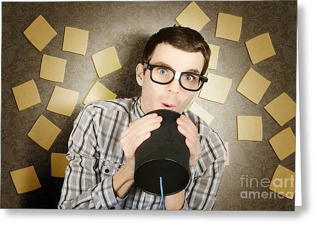 Office Admin Geek Announcing Memo When Note Taking Greeting Card by Jorgo Photography - Wall Art Gallery