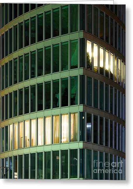 Office Building At Night Greeting Card
