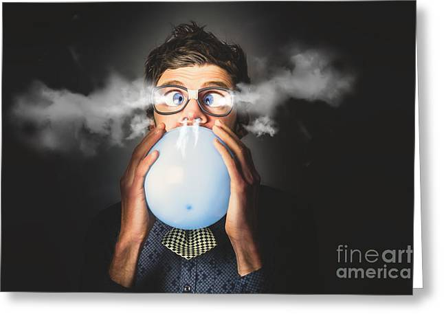 Office Party Nerd Blowing Up Birthday Balloon Greeting Card by Jorgo Photography - Wall Art Gallery