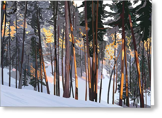 Office View Winter Alpenglow Greeting Card