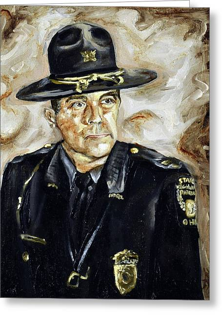 Greeting Card featuring the painting Officer Demaree by Ryan Demaree