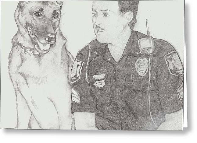 Officer Jack Dunn And K9 Starbuck Greeting Card by D Phillis Cook