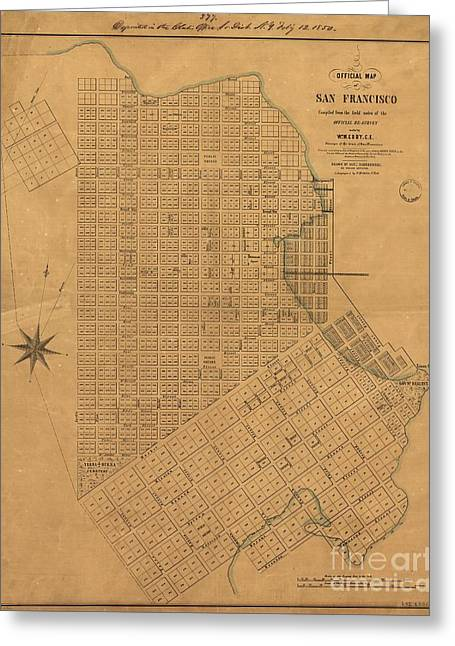 Official Map Of San Francisco 1849 Greeting Card by Baltzgar