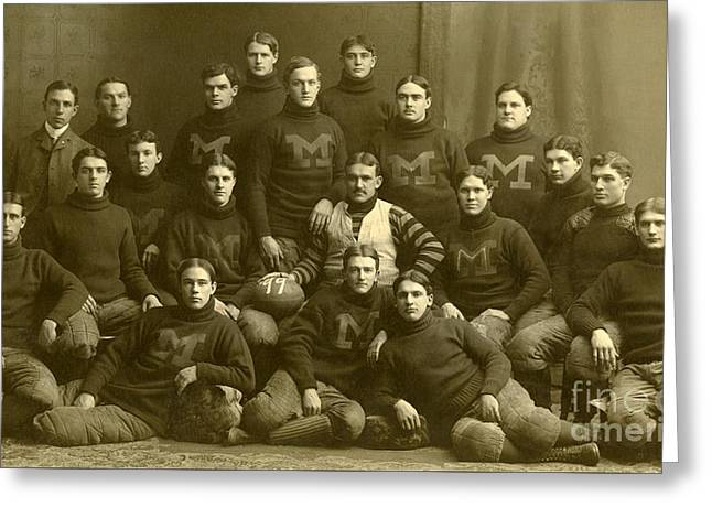 Official Photograph Of 1899 Michigan Wolverines Football Team Greeting Card by Celestial Images