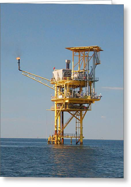 Offshore Gas Platform Greeting Card by Bill Perry