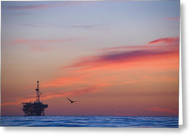 Twilight Views Greeting Cards - Offshore Oil And Gas Rig In The Pacific Greeting Card by James Forte