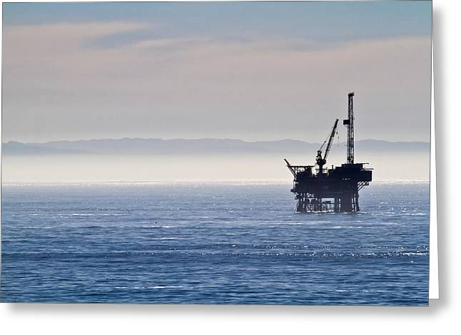 Offshore Oil Drilling Rig Greeting Card by Roger Mullenhour