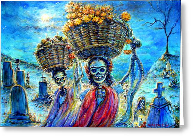 Greeting Card featuring the painting Ofrendas by Heather Calderon