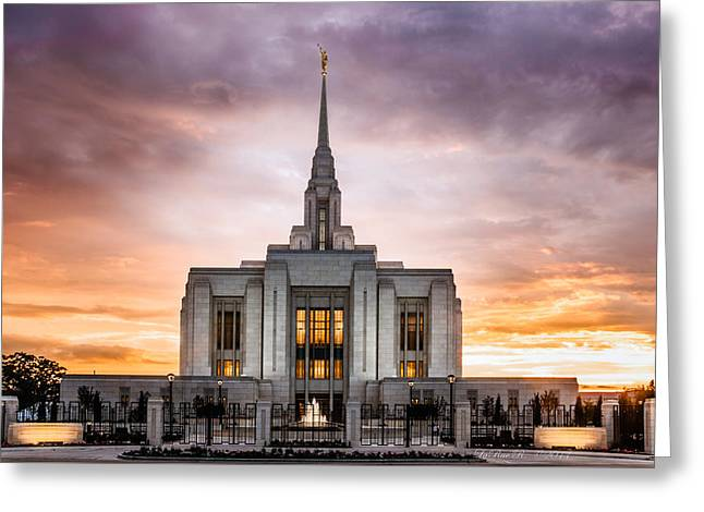 Ogden Lds Temple Sunset Greeting Card by La Rae  Roberts