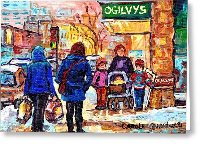 Ogilvy's Beautiful Sunny Winter Stroll Downtown Montreal City Scene Painting Carole Spandau          Greeting Card