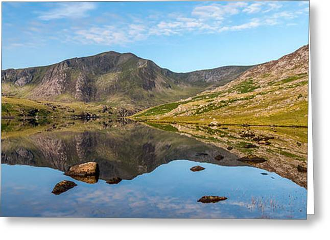 Ogwen Lake Reflections Greeting Card by Adrian Evans
