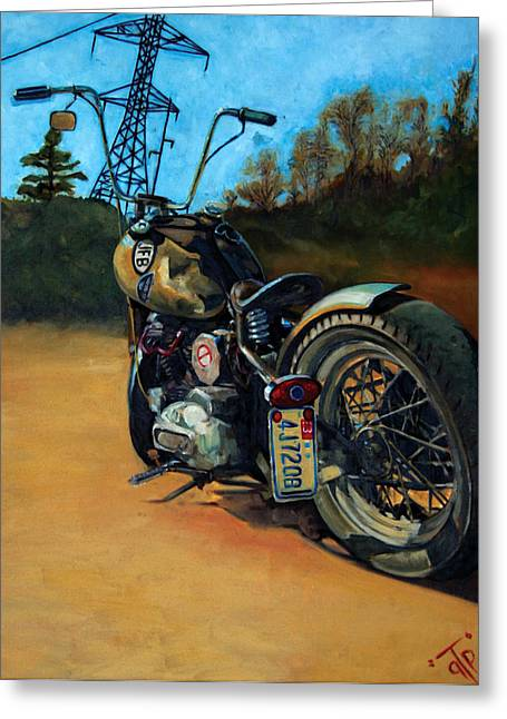 Motorcycles Greeting Cards - Oh Hell Yea Greeting Card by George Frizzell