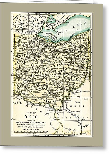 Ohio Antique Map 1891 Greeting Card
