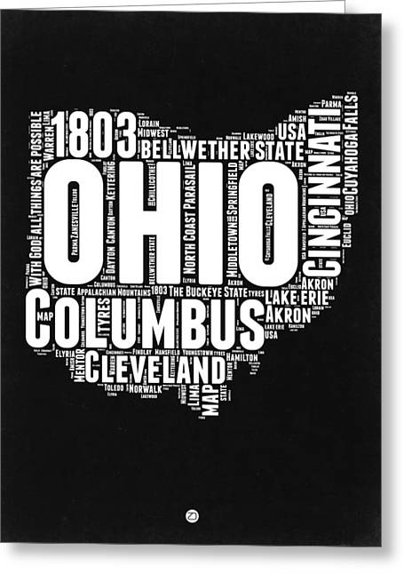 Ohio Black And White Word Cloud Map Greeting Card by Naxart Studio
