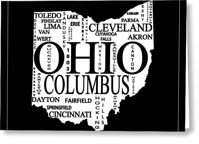 Ohio City Typography Map Greeting Card by Dan Sproul