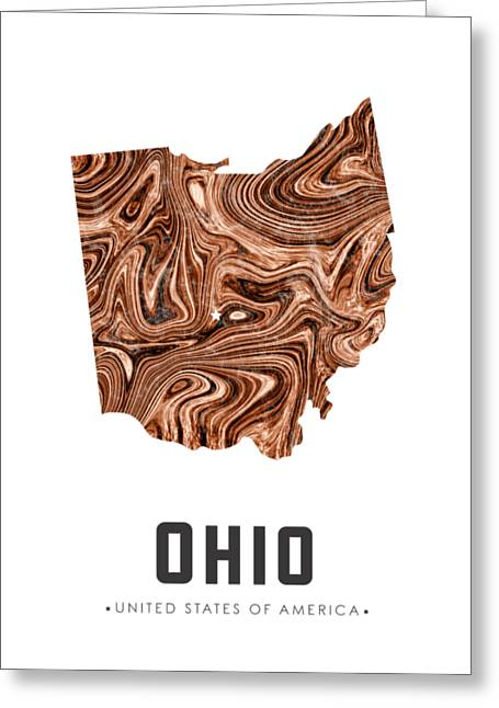 Ohio Map Art Abstract In Brown Greeting Card
