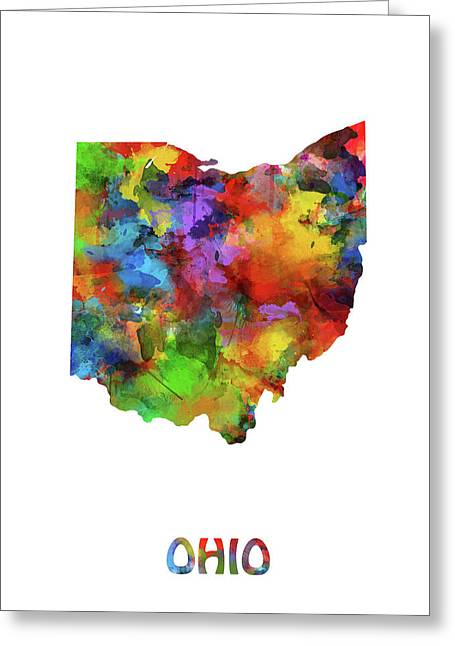 Ohio Map Watercolor Greeting Card