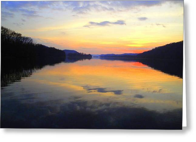 Ohio River At Sunset Greeting Card by Terry  Wiley