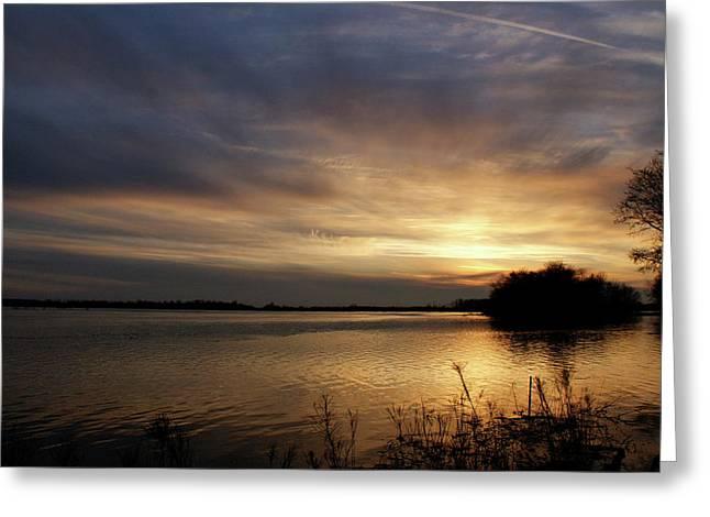 Ohio River Sunset Greeting Card by Sandy Keeton