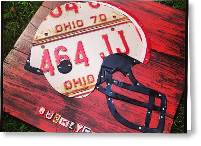 Ohio State #buckeyes #football Helmet - Greeting Card by Design Turnpike