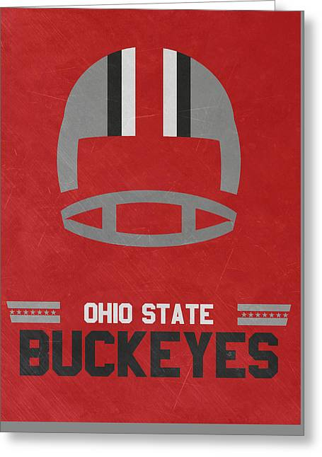 Ohio State Buckeyes Vintage Football Art Greeting Card by Joe Hamilton