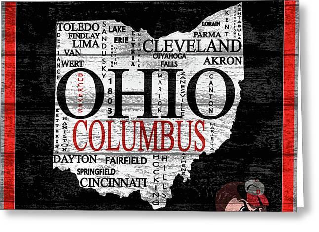 Ohio State Map Barn Door Greeting Card