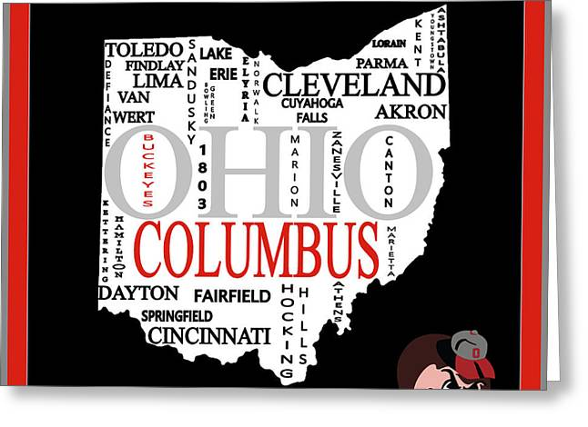 Ohio State Map Typography Greeting Card by Dan Sproul